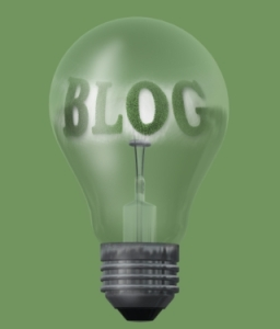 light bulb with text blog made in 3d software